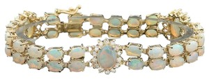 Other 14KYG Opal and Diamond Bracelet with Locking Clasp