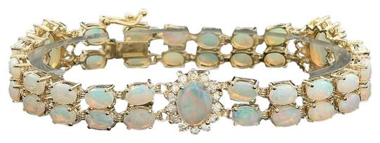 Other 14KYG Opal and Diamond Bracelet with Locking Clasps Image 3