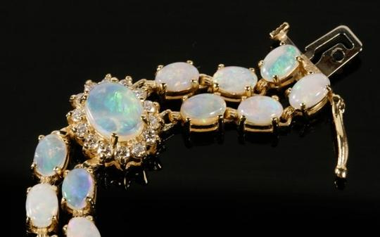 Other 14KYG Opal and Diamond Bracelet with Locking Clasps Image 5
