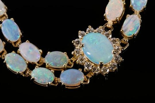 Other 14KYG Opal and Diamond Bracelet with Locking Clasps Image 6