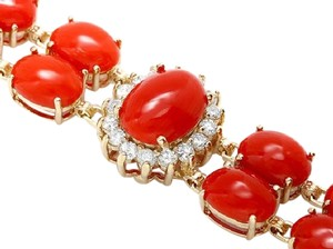 Other 35 CTW Coral and Diamond 14KYG Bracelet with Locking Clasps