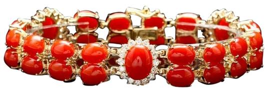 Other 35 CTW Coral and Diamond 14KYG Bracelet with Locking Clasps Image 1