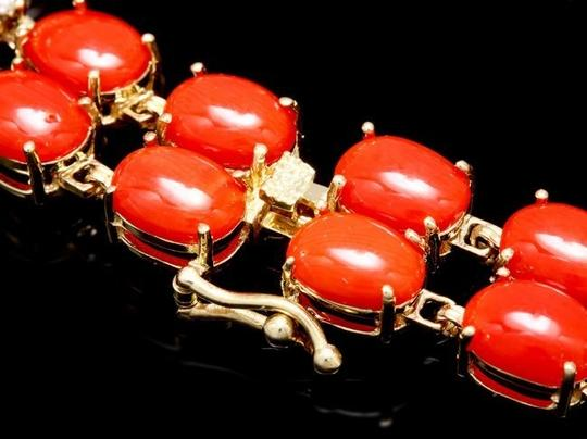 Other 35 CTW Coral and Diamond 14KYG Bracelet with Locking Clasps Image 2