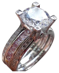 Other New Pink And Clear Sapphire 3CT Ring Set