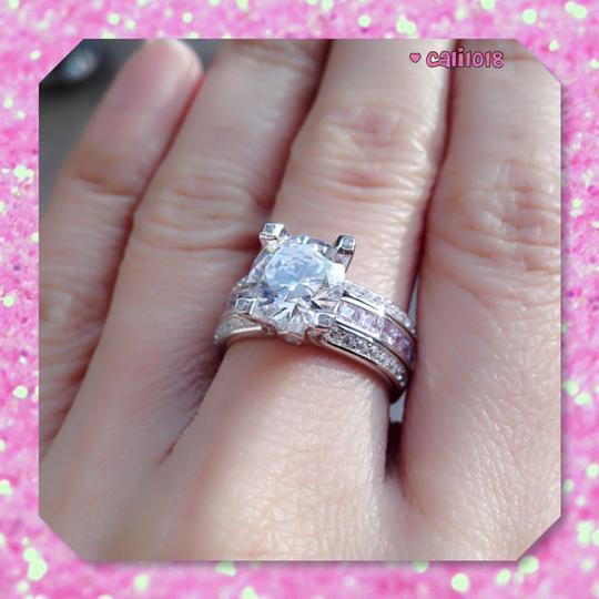 Other New Pink And Clear Sapphire 3CT Ring Set Image 1