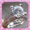 Other New Pink And Clear Sapphire 3CT Ring Set Image 2
