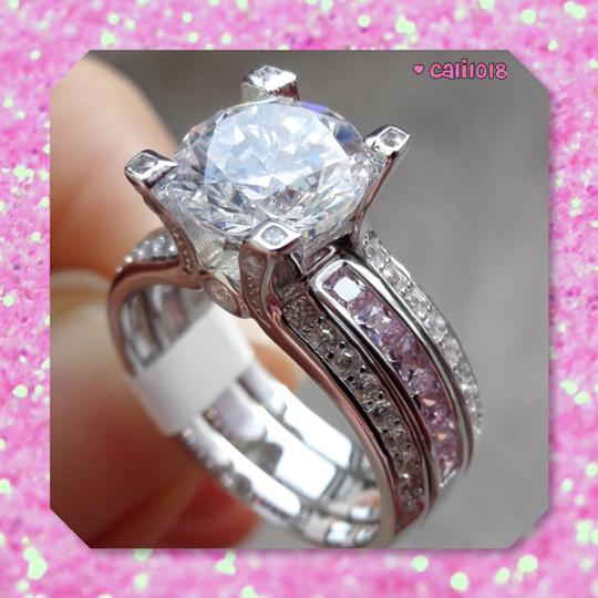 Other New Pink And Clear Sapphire 3CT Ring Set Image 3