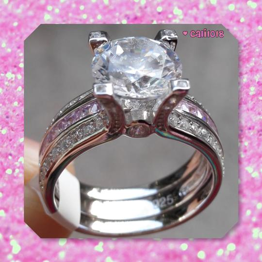 Other New Pink And Clear Sapphire 3CT Ring Set Image 4