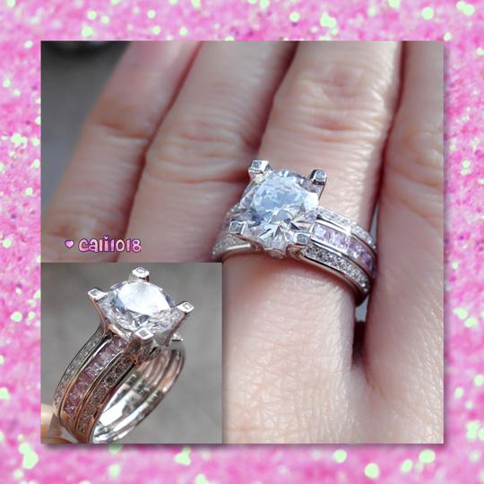 Other New Pink And Clear Sapphire 3CT Ring Set Image 5