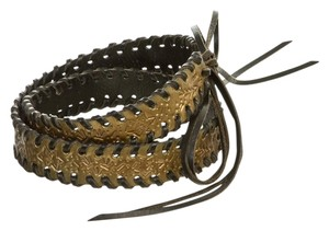 Fendi FENDI BROWN LEATHER BRONZE METALLIC REVERSIBLE WOVEN BRAIDED BELT 36