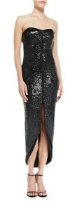 Halston Sequined Hi-low Satin Trim Dress