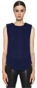 Isabel Marant Silk Charmeuse Sleeveless Top Navy