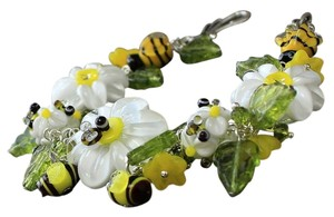 Buy Designs Buy Designs Bumblebee and Daisy Lampwork Bead Necklace Bracelet and Earring Set: $200