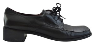 Etienne Aigner Loafer Retro Pulp Fiction Coachella Edm Festival Hipster Laces Leather Chunky Geek Chic Black Flats