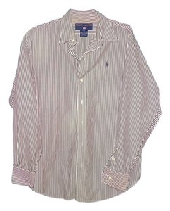 Ralph Lauren Oxford Button Down Shirt white and black stripe