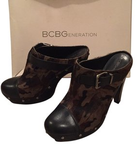 BCBGeneration Camo. Black. Brown. Green. Mules
