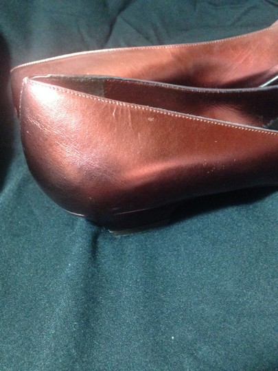 Hollywould Leather Dark Red metallic Flats Image 5