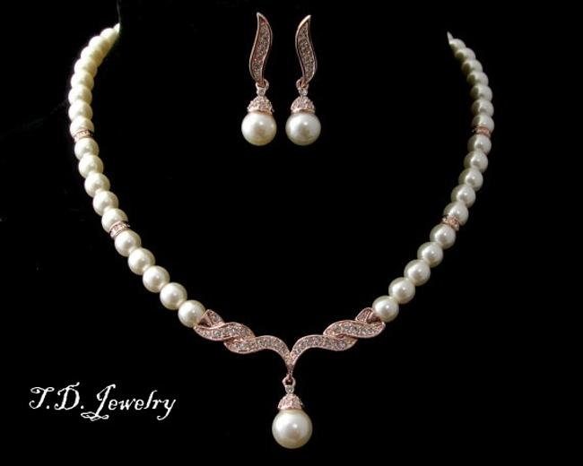 Item - Cream Ivory Rose Gold Pearl Necklace Earring Single Strand Pearl Necklace Round Pearl Necklace Bridesmaid Gift Jewelry Set