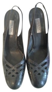 Isaac Mizrahi Slingback Crocodile Black Leather Pumps