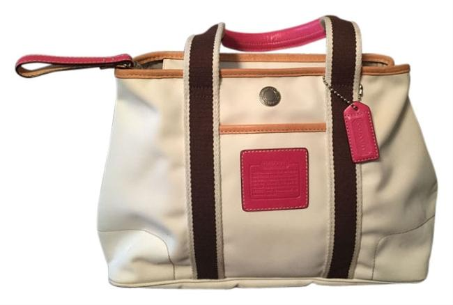Item - White W/Pink Sateen Finish/Leather Trim Weekend/Travel Bag