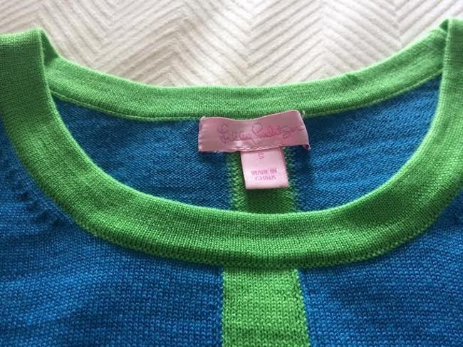 Lilly Pulitzer short dress Teal and Green Sweater Gold Buttons Blue on Tradesy