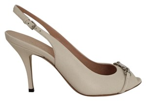 Gucci Leather Slingback Peep Toe Mystic White Pumps