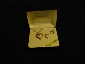 Roman Rhinestone Heart Necklace and Earring set