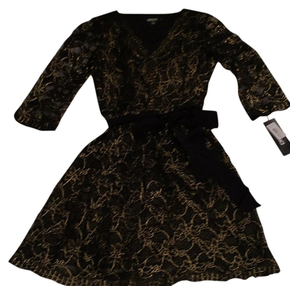 c4fbbc31ab1 Donna Karan Black and Gold Unknown Above Knee Cocktail Dress Size 8 ...