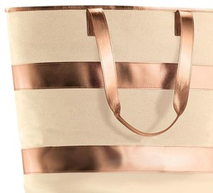 Other Tote Oversized Striped Beige & Rose Gold Beach Bag