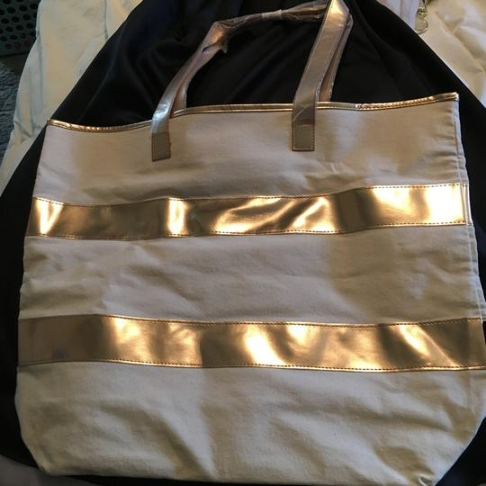 Other Tote Oversized Striped Beige & Rose Gold Beach Bag Image 1