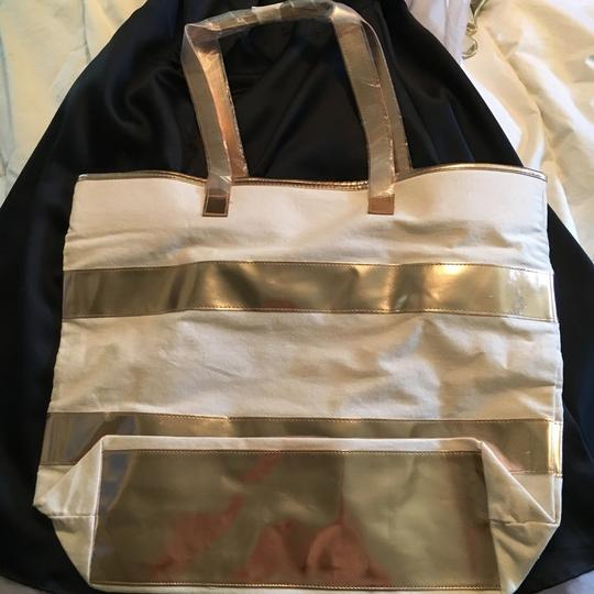 Other Tote Oversized Striped Beige & Rose Gold Beach Bag Image 2