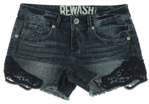 Rewash Crochet Cutoff Junior Black Cut Off Shorts Blue Vintage Wash