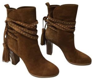 Michael Kors Palmer Tassel Suede High Heel BROWN Boots