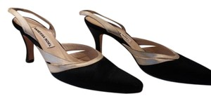 Vanessa Noel Satin Slingback Black with cream Pumps