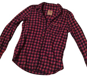 Hollister Button Down Shirt Pink/navy