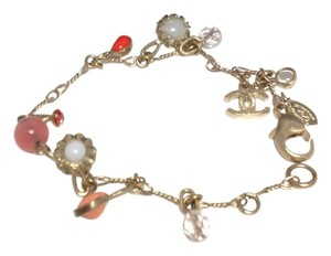 Chanel #4611 gold CC multicolor stone gripoix glass charms Bracelet Bangle