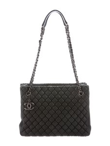 Chanel Gst Bubble Quilt Grand Shopping Classic Cc Logo Tote in Charcoal Gray Grey