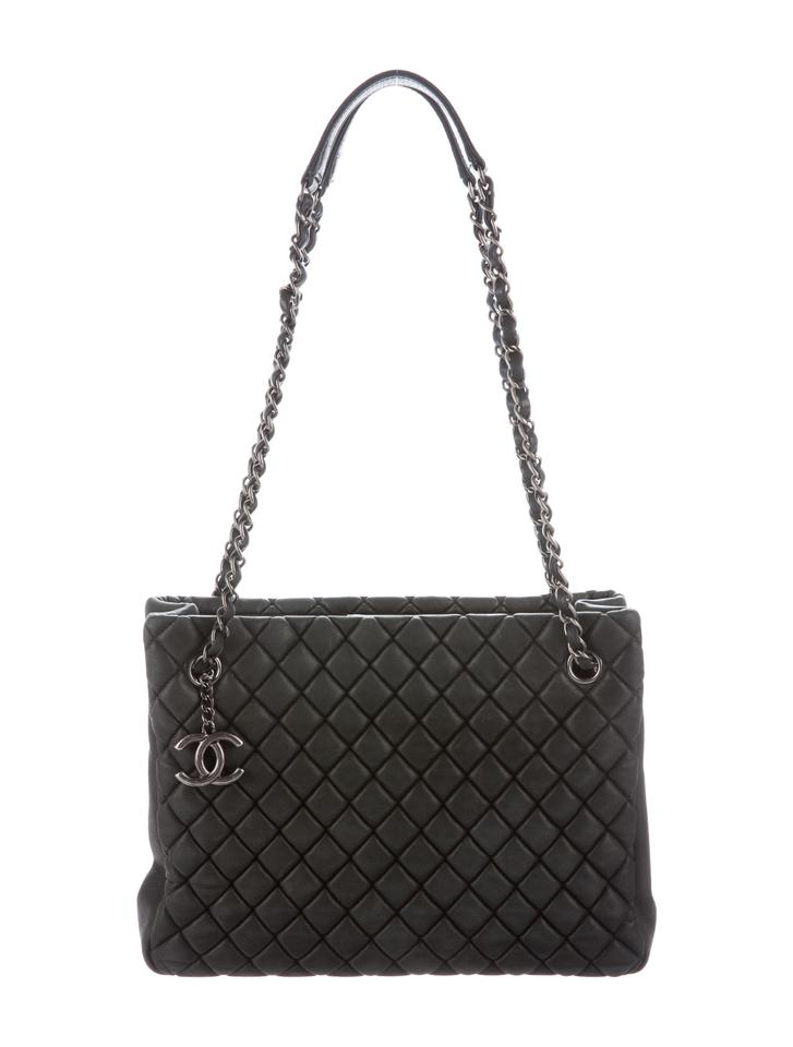 cb6d1cc44c0 Large Shopping Bag. Chanel Gst Bubble Quilt Grand Shopping Classic Cc Logo  Tote in Charcoal Gray Grey …