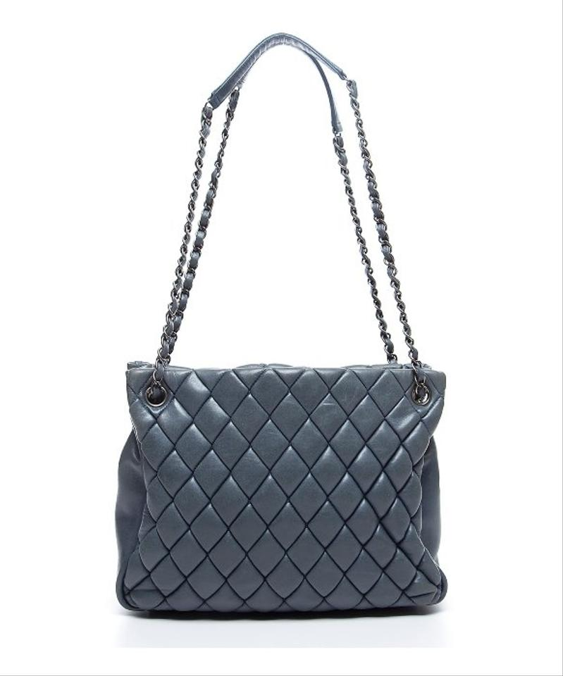 8c55f0bfa92b Chanel Shopping Tote Bubble Quilt Grand Petite Gst Jumbo Xl Cc Flap Classic  Charcoal Gray Grey Calfskin Leather Tote