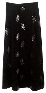 Betsey Johnson Long Maxi Skirt Black pinstriped