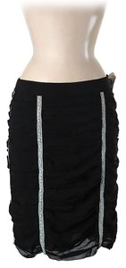 Nicole Miller Silk Ruched Skirt Black