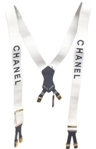 Chanel Chanel #4612 extremely rare Logo White Suspenders belt
