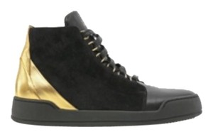 Bony velvet & leather high top sneakers Black/ gold Athletic