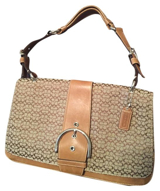 Coach Camel Leather and Fabric Shoulder Bag Coach Camel Leather and Fabric Shoulder Bag Image 1