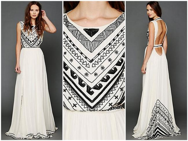 Item - White Silk and Chiffon Beaded Gown Formal Wedding Dress Size 2 (XS)