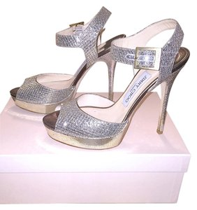 Jimmy Choo Heels Christian Louboutin Wedding Silver/Gold Glitter fabric Champagne Pumps
