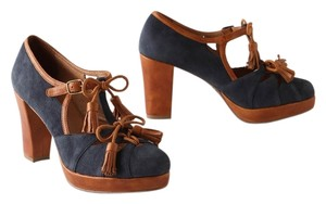 Anthropologie Miss Albright Tassles Leather Suede Preppy Navy Blue Platforms