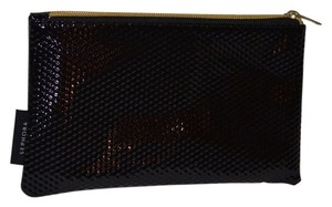 Sephora NEW Studded / Glittery Black Makeup Toiletry Bag Gold Zippered Pouch / Clutch