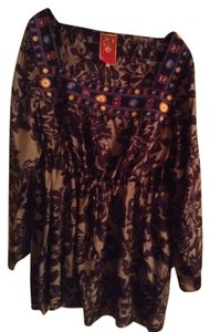 Johnny Was Boho Vintage Inspired Peasant Top Purple