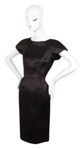 Chanel Black Silk Short Sleeve Structured Sheath Dress